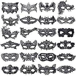 Aneco 24 Pieces Lace Masquerade Mask Hal...