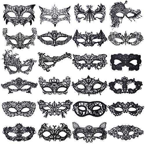 Aneco 24 Pieces Lace Masquerade Mask Halloween Venetian Eyemask Sexy Lace Eye Mask Mysterious Lace Mask for Carnival Party Costume Ball, Black
