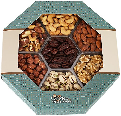 GIVE IT GOURMET, Freshly Roasted Delicious Healthy Nuts Holiday Gift Basket Jumbo 2 Lbs Gift Tray. (Birthday Gift Baskets Dad)