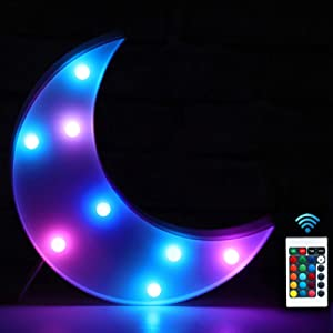 Pooqla RGB Moon Marquee Light with Remote 16 Color-Changing LED Light Up Moon Night Light Crescent Sign Gifts for Children Kids Room Decor- Multicoloured