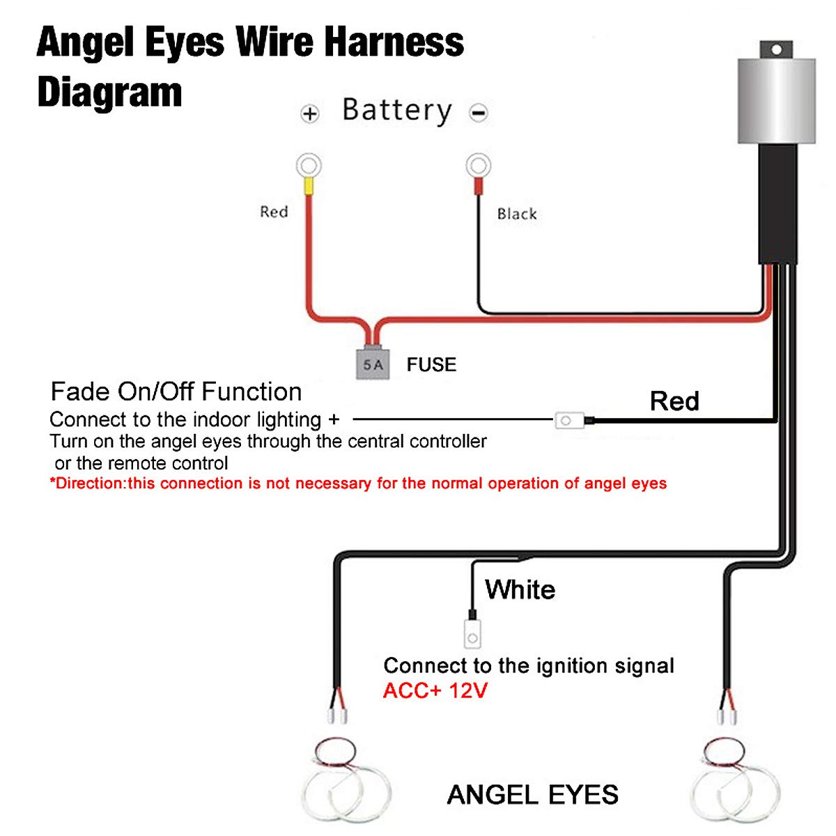 131mm white cotton led angel eeys halo ring lighting kit for bmw e36 e38 e39 e46 m3 3,5,7 series with relay wire harness fade on and fade offBmw Angel Eye Wiring Diagram #14