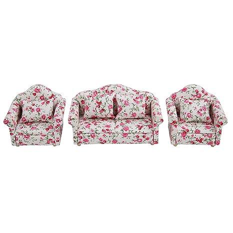 Juego de sofás para muebles de casa de muñecas, juego de ...