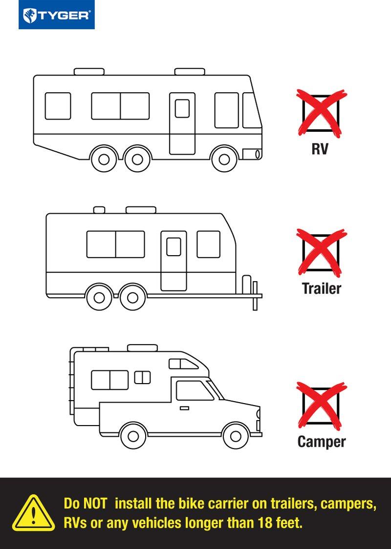 Fits Most Sedans//Hatchbacks//Minivans and SUVs. Tyger Auto TG-RK3B203S Deluxe 3-Bike Trunk Mount Bicycle Bike Rack.