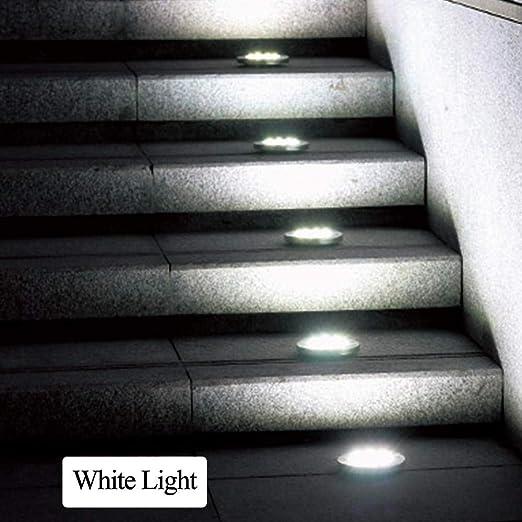 8LED luz de tierra solar a prueba de agua led lámparas subterráneas luces de cubierta de piso de jardín para patio entrada calzada terraza escaleras iluminación de césped-Blanco frio_China_Plata: Amazon.es: Iluminación