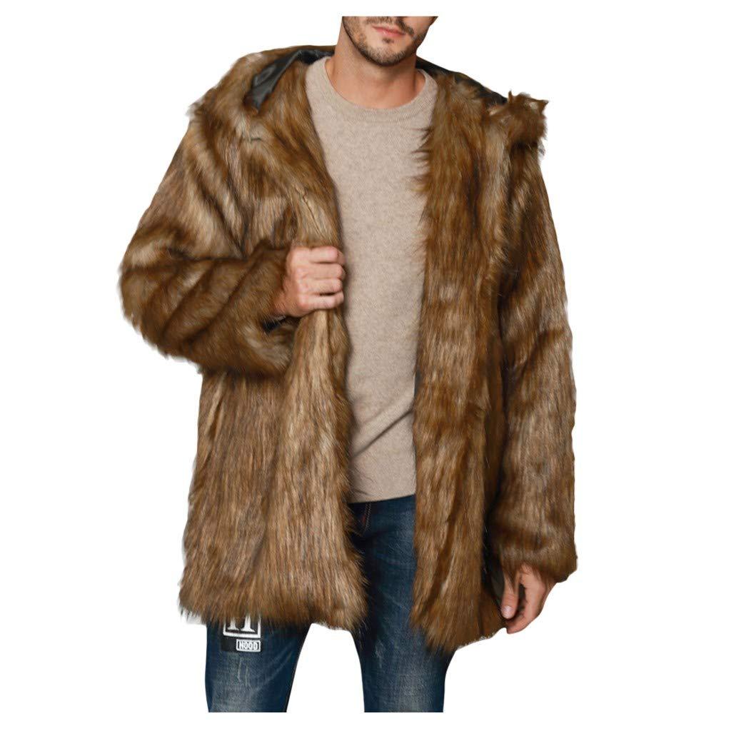 Men's Luxury Faux Fur Long Coat Jacket Winter Warm Overcoat Outwear Cardigan by Vintress