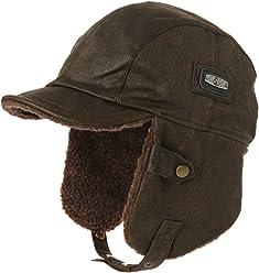 SIGGI Aviator Hat Faux Leather Pilot Cap Adult Men Winter Trapper Hunting  Hat 4a8b8a60d8b