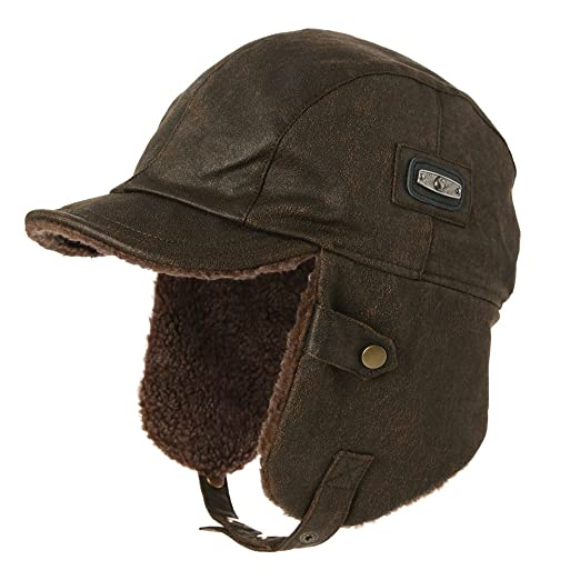 cca210c8669 SIGGI Unisex Pilot Hat Aviator Cap Leather Adult Brown Mens Women Winter  Trapper Hunting Hats