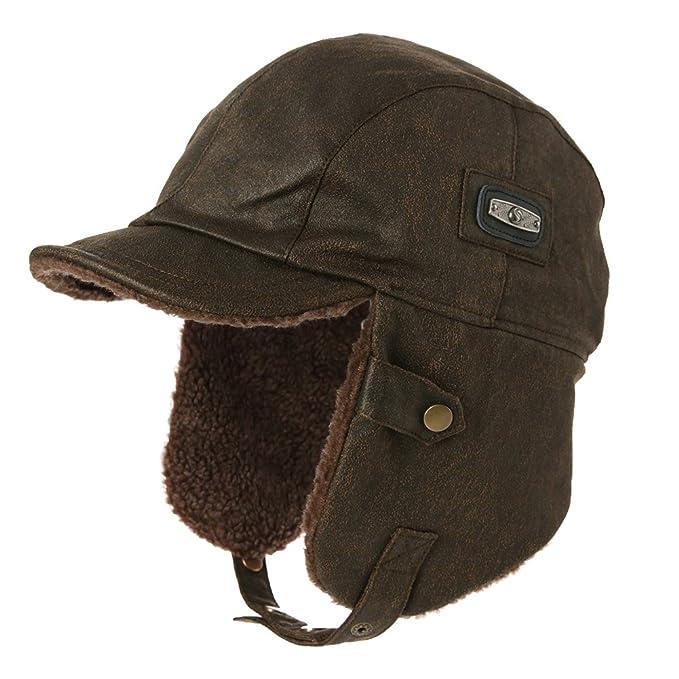 SIGGI sombrero de piel sintética de aviador, gorra de piloto para hombres, gorro de caza de invierno: Amazon.es: Ropa y accesorios