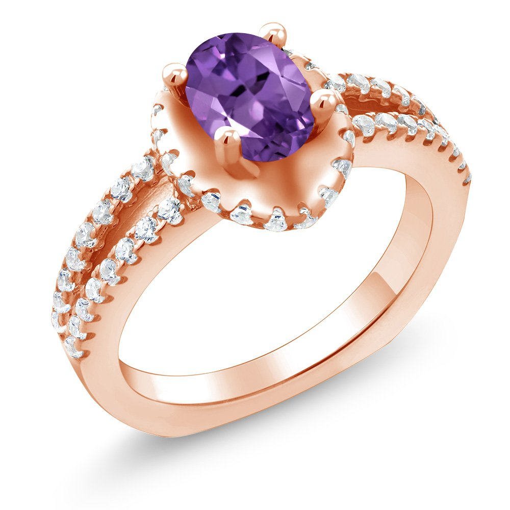 Gem Stone King 1.25 Ct Oval Purple Amethyst 18K Rose Gold Plated Silver Ring