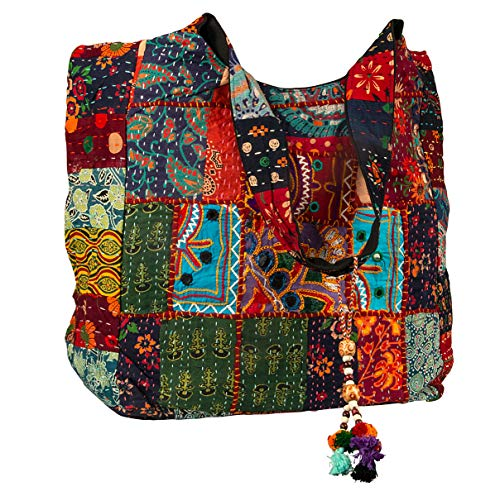 - Large Shoulder Bag Red Quilted Embroidered Market Shop School Laptop Diaper Picnic Comfortable Roomy