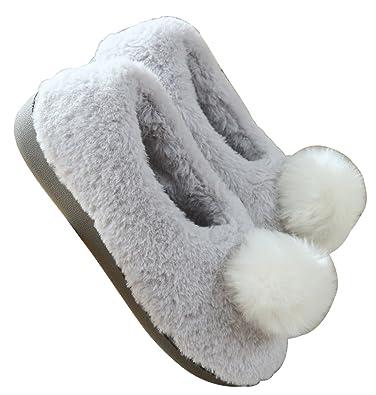 0efa65551de FreLO Women s Grey Plush Pom-pom Fluffy Slippers Cute House Slippers ...