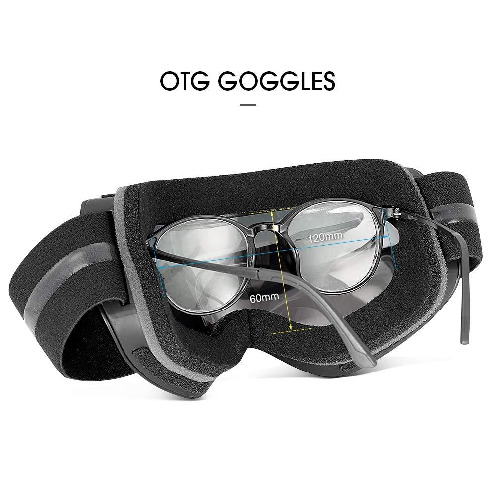 7922f53e1a Argent Motoneige Moto Lunettes Ski Goggles Lens Anti-poussière Vent Anti  buée Masques Lunettes de Ski Anti-UV 400 Sphérique Lentille ...