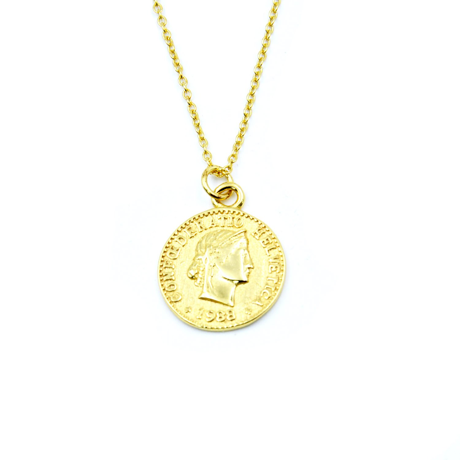 925 Sterling Silver Chain Necklace Jewelry Charm Gold Coin Pendent Simple Delicate Chic Fashion