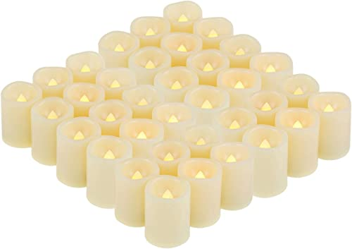 36 Pack Flameless Battery Operated LED Votive Candles Flickering Electric Fake Tea Lights Candle Bulk Set for Christmas Home Party Decorations Wedding Supplies 1.5×2 inch Batteries Included