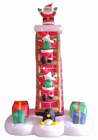7 \'Airblown aufblasbare Animierter Santa Trio auf Kamin Leiter ...