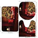 3 Piece Bathroom Mat Set,Christmas,Xmas-Scene-with-Decorated-Luminous-Tree-and-Gifts-by-the-Fireplace-Artful-Image,Red-Yellow.jpg,Bath Mat,Bathroom Carpet Rug,Non-Slip