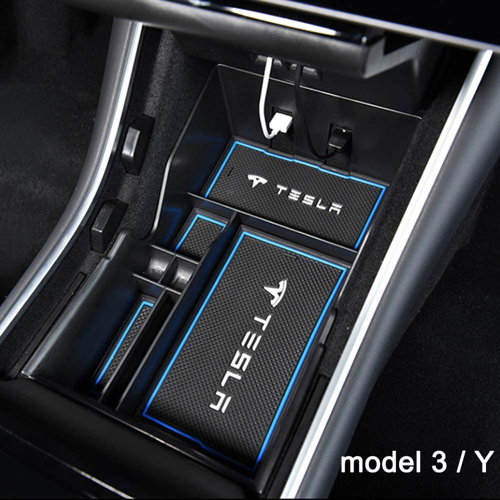 Center Console Organizer Storage Coin Box 2020 Model Y Tray Accessories Sunglass Holder with Microfiber Towel RCCT Tesla Model 3