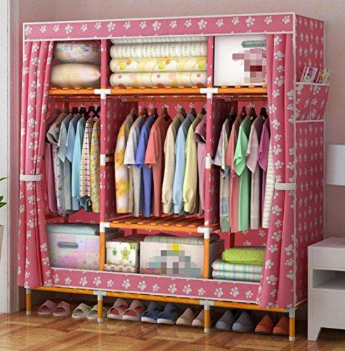 GL&G Portable Clothes Closet Washable Oxford cloth Wardrobe Double Rod Storage Organizer Bedroom Clothing Wardrobe Storage Waterproof solid wood Foldable Closets,B,58''68'' by GAOLIGUO