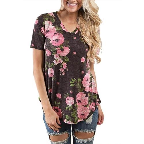 Ularma mujeres blusa floral camiseta de verano de manga corta camiseta impresa flor de la camisa del...