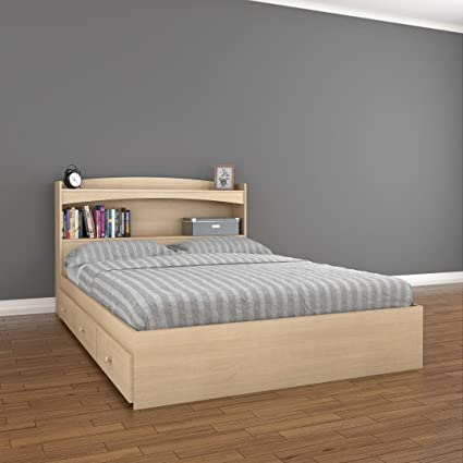 Amazoncom Alegria 3 Drawer Storage Bed With Bookcase Headboard