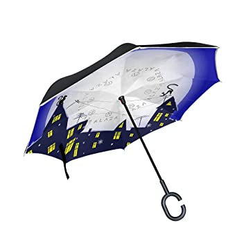 COOSUN - Paraguas invertido de Invierno con Gato de Doble Capa, protección UV Impermeable y Resistente al ...