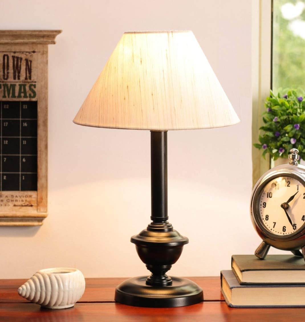 tu casa Ntu-83 Off White Cotton Shade Table lamp with Metal Base by tu casa Holder Type b-22 (Bulb not Included)