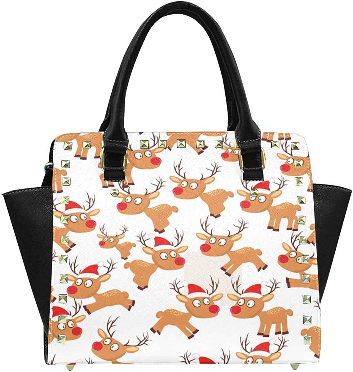 INTERESTPRINT Cute Christmas Deer Rivet Shoulder Handbag Tote Bags Wallets