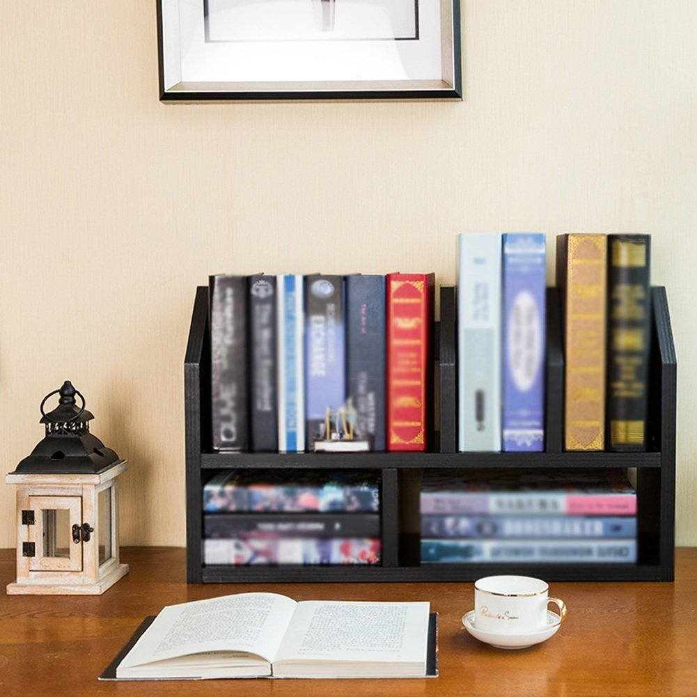 QIANGDA Librerías Estantería De Estante Escritorio Estante De Libro Estante De Divisor De Habitación Sala De Estudio, 54 X 20 X 36 Cm, 2 Colores Opcional (Color : Negro) 74e00a