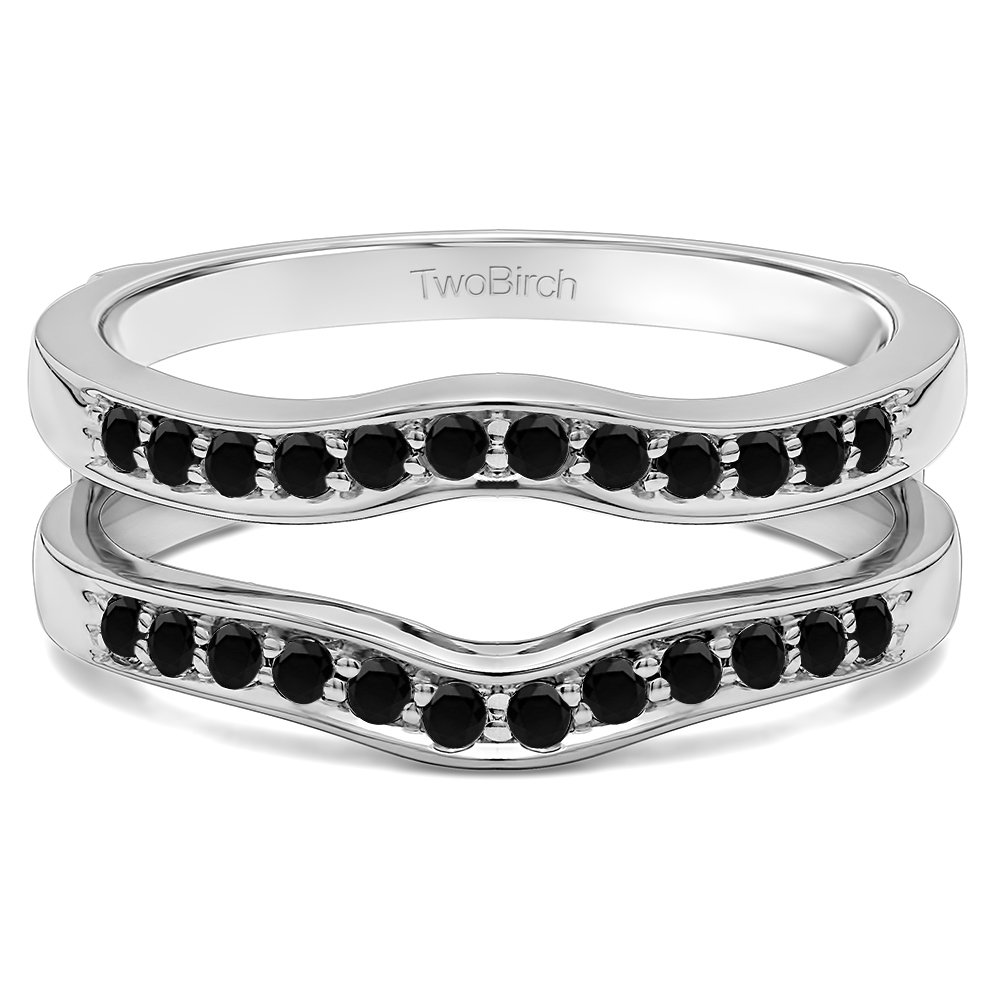 Contour Shape Channel Set Enhancer Ring Guard with 0.14 carats of Black Diamonds in Sterling Silver