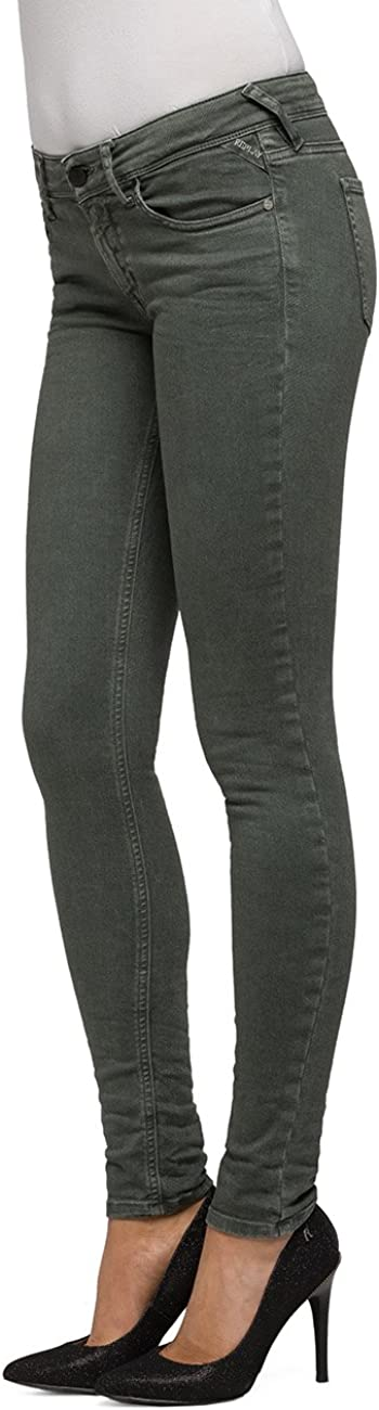 Replay Women's Luz Coin Zip Skinny Jeans Green (Sage Green 20)