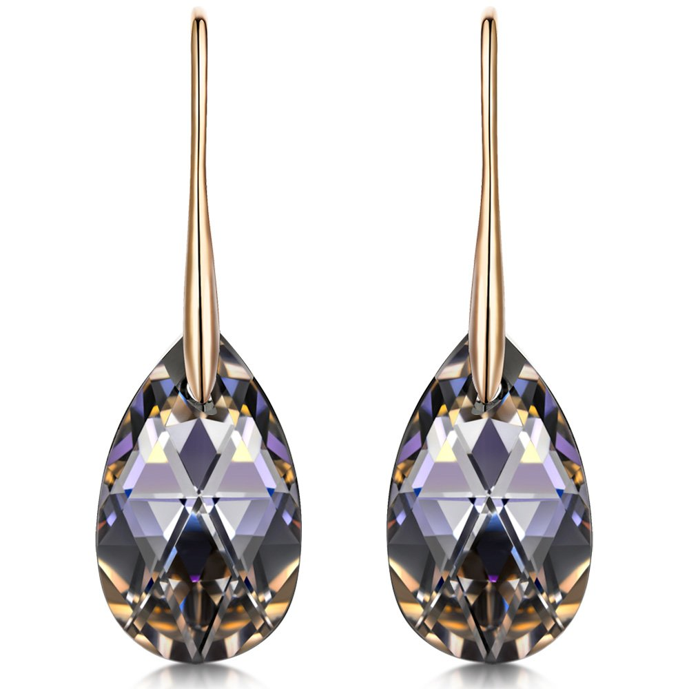 5335ec56affa21 LADY COLOUR ♥ Silver Night ♥ Teardrop Dangle Earrings With Crystals from  Swarovski Hypoallergenic Jewelry Gift Box Packing, Nickel Free Passed SGS  Test ...