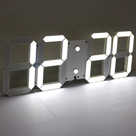 EsportsMJJ 3D Acrílico Blanco Gran Digital Led Esqueleto Reloj De Pared Temporizador 24/12 Hora
