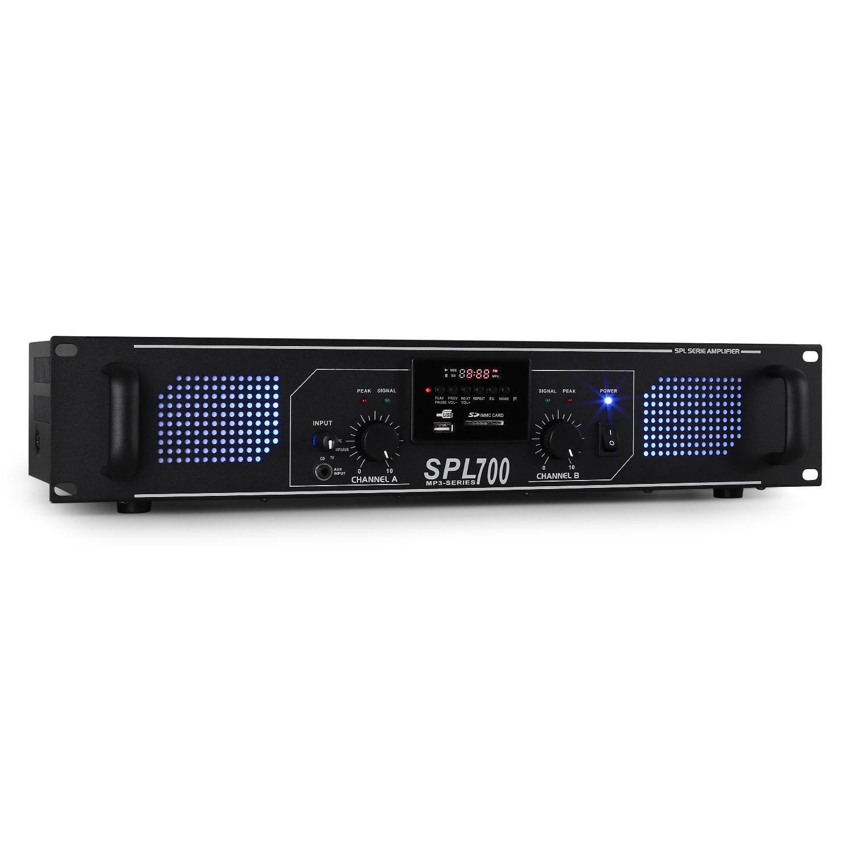 Skytec SPL 500MP3 amplificateur Audio 2.0 canaux Maison avec Fil Blanc - Amplificateurs Audio (2.0 canaux, 0,5%, 95 DB, 250 W, 775 mV, 10000 Ohm)
