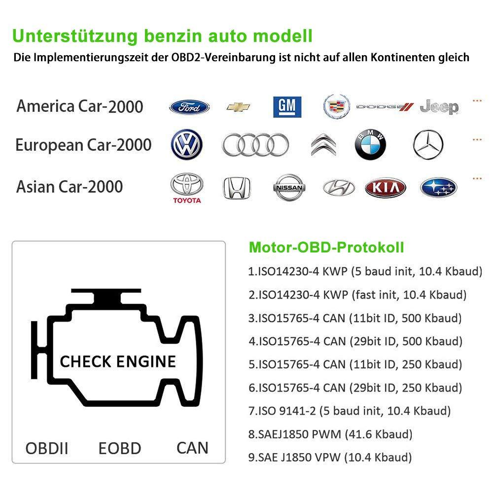 Gr/ün2 Auto Diagnosewerkzeuge OBD II Code Scanner Fahrzeug Fehlercodeleser arbeitet an Allen Autos mit OBD2//EOBD//CAN-Modi f/ür Lesen und L/öschen Fehlercode und Batterie Test OBD2 Diagnoseger/ät red