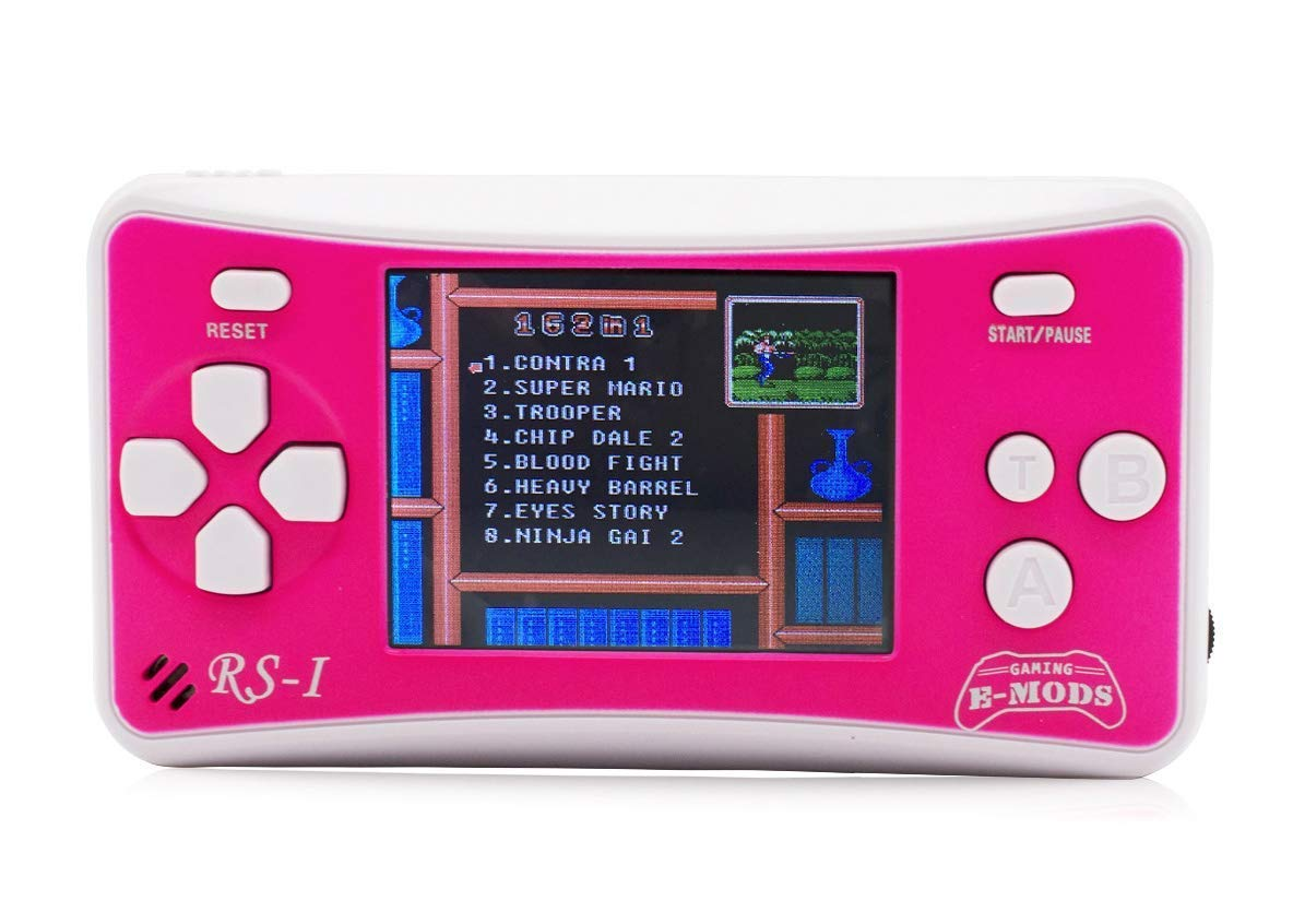 E-MODS GAMING 8-Bit 2.5'' LCD Retro Portable Video Game Player Handheld Console Built in 162 Games (Pink)