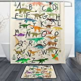 U LIFE Dinosaurs Alphabet Cute Animals Shower Curtain Set and Bathroom Area Rugs Mats 60 x 72 inch