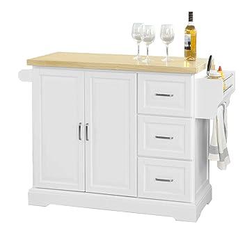 Credenza Cucina Con Piano Di Lavoro.Sobuy Carrello Cucina Credenza Piano In Legno Di Hevea E Allungabile Con Ruote Fkw41 Wn It