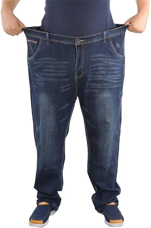メンズプラスサイズのストレートジーンズ男性デニムビジネスジャンカジュアルパンツパンツバギー男性クラシックジャンパンツ,ブルー,46