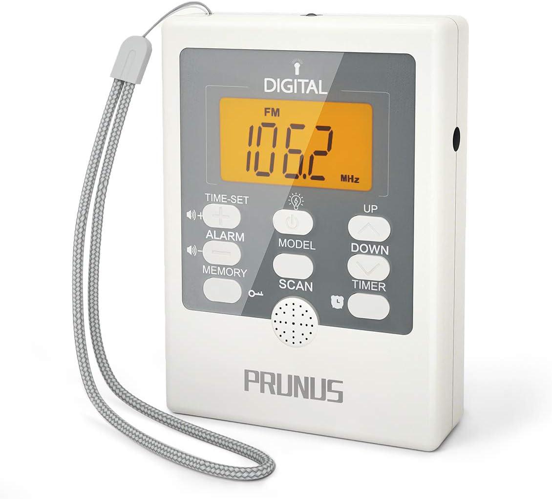 Radio Digital de Bolsillo PRUNUS J-157, Pequeño Transistor Portátil Radio Am FM con Linterna SOS, Reloj Despertador, Temporizador de Apagado, Operado por Pilas AAA (SIN FUNCIÓN PRESET Manual): Amazon.es: Electrónica