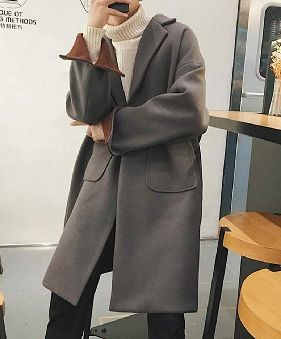 Tootless-Men Trench Overcoat One Button Lapel Business Wool Blend Topcoat