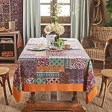 Luxury linen Tablecloths,[painted] Washable [retro] Rectangle 100% linen 1 piece Tablecloths-C 150x220cm(59x87inch)