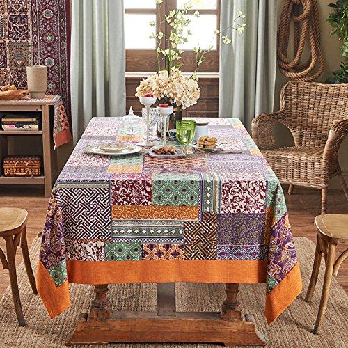 Luxury linen Tablecloths,painted Washable retro Rectangle 100% linen 1 piece Tablecloths-C - Native Impression Art American