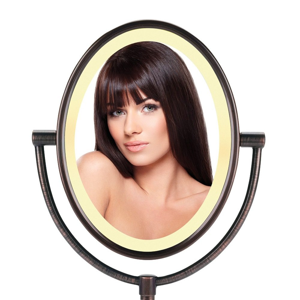 Conair Oval Shaped Double-Sided Lighted Makeup Mirror, 1x ...