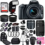 Canon EOS Rebel SL2 Digital SLR Camera + Canon EF-S 18-55mm + Canon EF 75-300mm Lens + 0.43 Wide Angle & 2.2 Telephoto Lens + Macro Filter Kit + 64GB Memory Card + Camera Works PRO Accessory Bundle