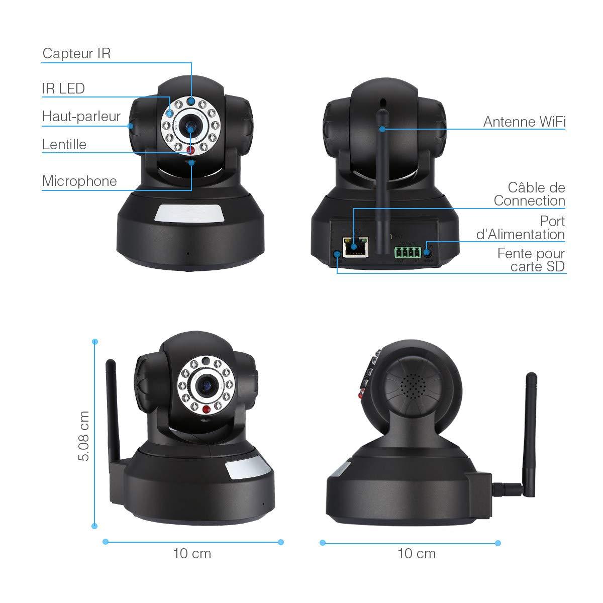 Powerextra IP Caméra 720p HD WiFi Surveillance Caméra de Sécurité avec Capteur de Mouvement et de la Vision Nocturne pour Maison Moniteur des Animaux domestiques et Bébé