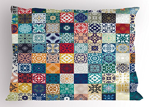 Lunarable Patchwork Pillow Sham, Large Collection of Old Fashioned Cultural Motifs of Lisbon Spain and Tunisia, Decorative Standard Queen Size Printed Pillowcase, 30 X 20 Inches, Multicolor by Lunarable
