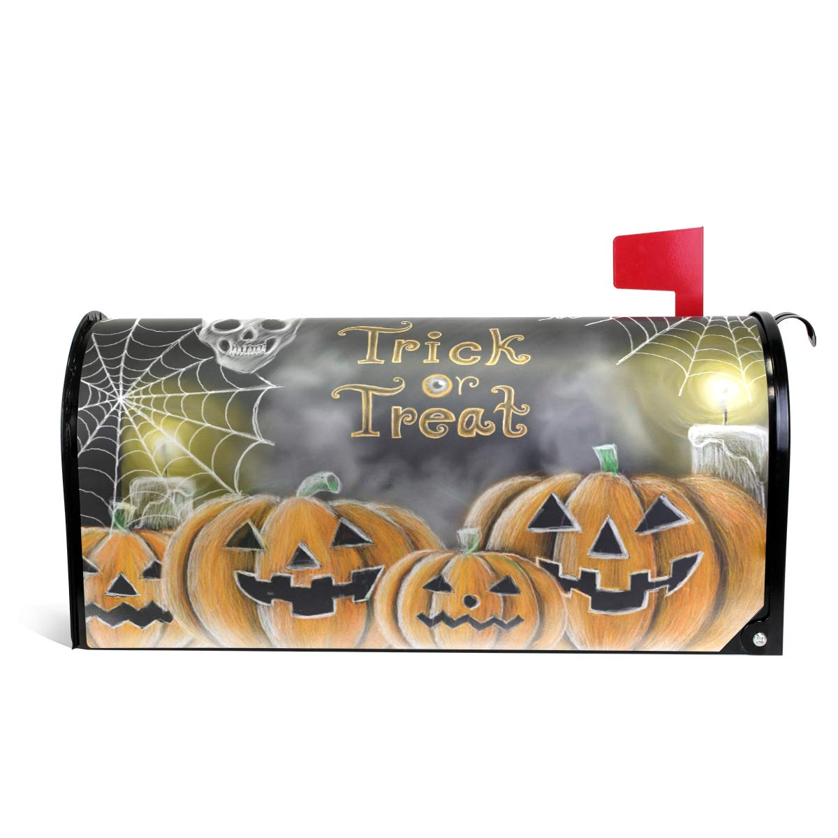 """Naanle Halloween Magnetic Mailbox Cover, Halloween Pumpkin Skull Mailbox Wrap Home Decorative for Large Size 25.5""""(L) x 20.8""""(W)"""