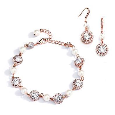 Amazoncom Mariell Rose Gold Pearl Round CZ Bridal Bracelet