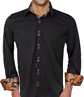 product image for Black with Red and Gold Moisture Wicking Dress Shirt - Made in USA
