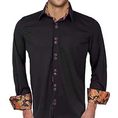 311d8bf4fd8801 Black with Red and Gold Moisture Wicking Dress Shirt - Made in USA (XS  Modern
